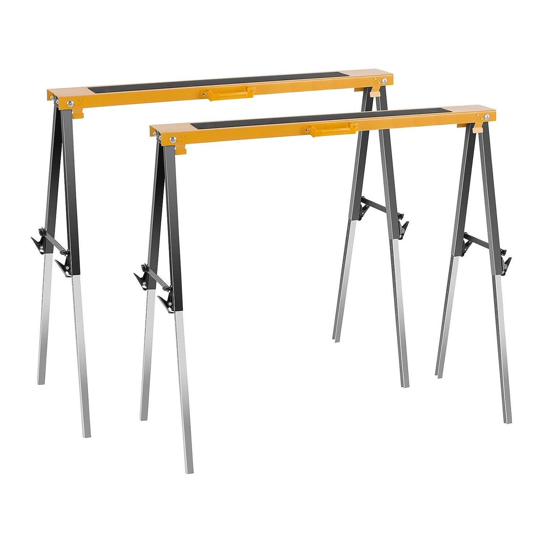 MSW Set de Tré teaux de travail MSW-SH 120 (2 Piè ces, Ré glable en hauteur: 67-91,5 cm, Charge maximale par tré teau 120 kg, Surface de travail: 99,5 x 12,5 cm, pliable et transportable) Réglable en hauteur: 67-91