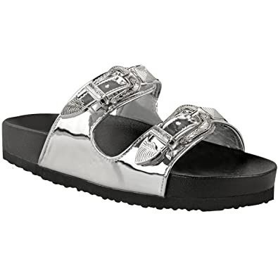 b9ccf0b7d5e Fashion Thirsty Womens Ladies Sliders Slip On Sandals Summer Western Punk  Mules Wedge Shoes Size