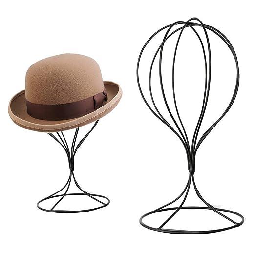 A-SZCXTOP Support de chapeau en métal robuste Stand d écran de rangement en  acier inoxydable Porte-perruque pour décoration intérieure - Noir   Amazon.fr  ... f472643d931