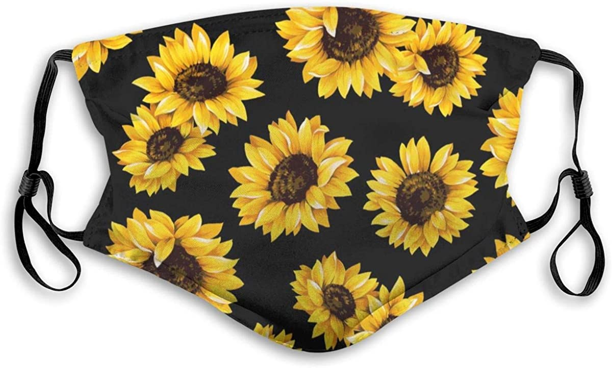 Granbey Face Scarf Cover Mouth Sunflower Wind Dust Bandanas for Men and Women Cover