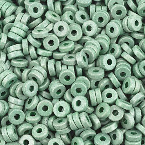 Ceramic Beads-6mm Round Disc-Sage Green-Quantity 50 -