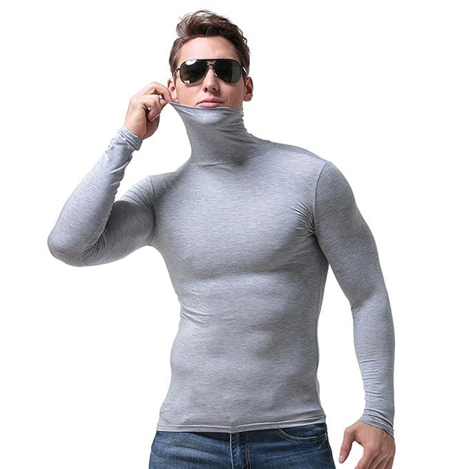 KINDOYO Classic hombre Cuello alto ropa interior térmica conjunto manga larga Top: Amazon.es: Ropa y accesorios