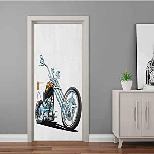 Wall Decal American Chopper Motorcycle Competitions Tough Wild Cool Sport Bathroom Door Decal Use for Refurbish Home Charcoal Grey White Pale Blue 35.4 x 78.7 Inch