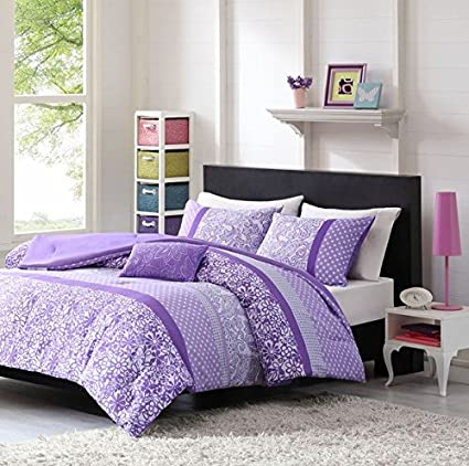 Amazon 4 piece girls purple flower themed comforter full queen 4 piece girls purple flower themed comforter full queen set pretty all over floral bedding mightylinksfo