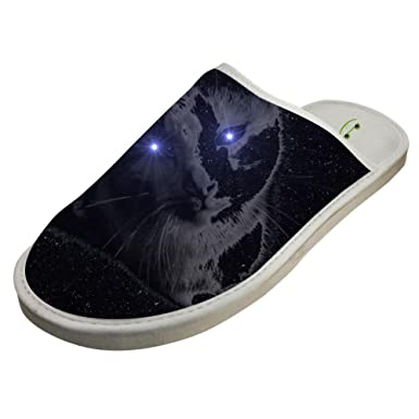 623b6becd Amazon.com  Slippers with Deep Space Cat Custom Indoor Sandals Adults Shoes  Flat House Flip Flops  Clothing