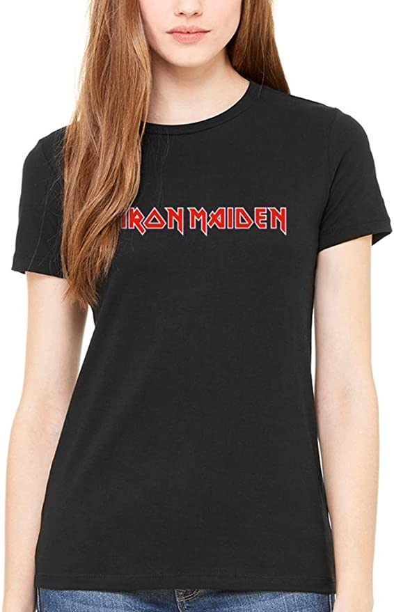 Official Iron Maiden Classic Logo camiseta para mujer Rock Heavy Metal banda Frambuesa Negro negro Small: Amazon.es: Ropa y accesorios