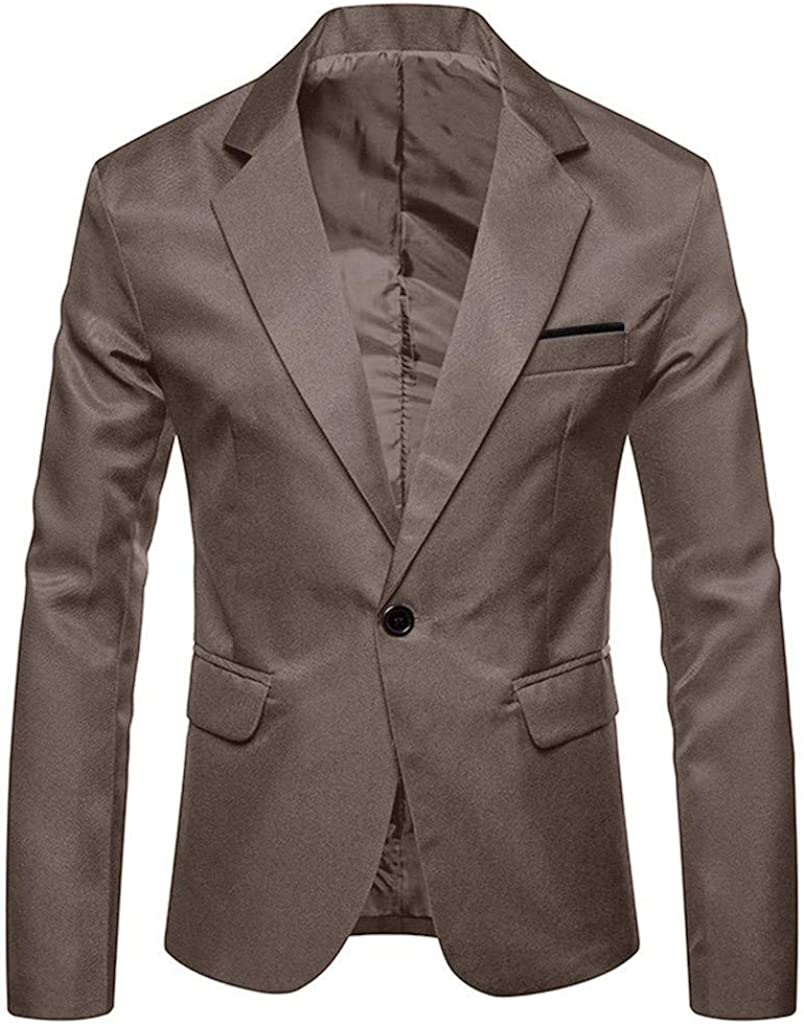 Ashui Mens Casual Pocket Button Jacket Long Sleeve Business Suit Solid Coat Outwear Blouse Top