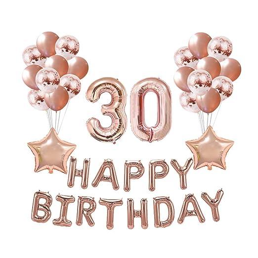 Amosfun 37pcs 30 cumpleaños decoración Globos Conjunto látex ...