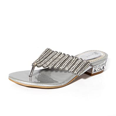 619b7cc62 Unicoratha Women s Low Block Heel Toe Post Diamante Flip Flops Wedding Prom  Party Sandals Silver 8