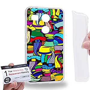 Case88 [LG Nexus 5X (2015)] Gel TPU Carcasa/Funda & Tarjeta de garantía - Art Abstract Drawing Beaver Hat Top Hat