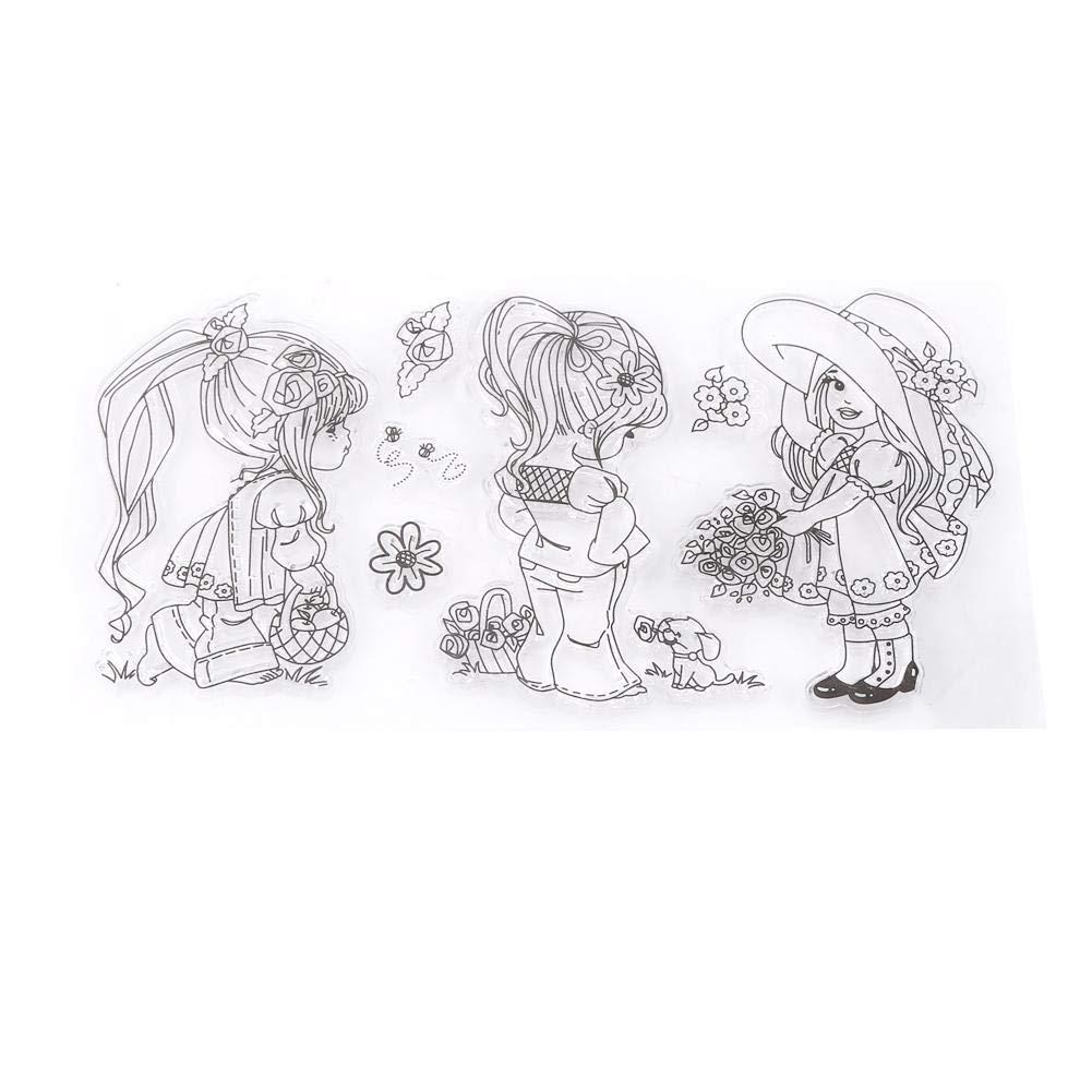 Stampo in silicone Seal, goffratura Tool Cartoon Girls modello scrapbook photo album timbri di gomma di silicone trasparente GLOGLOW