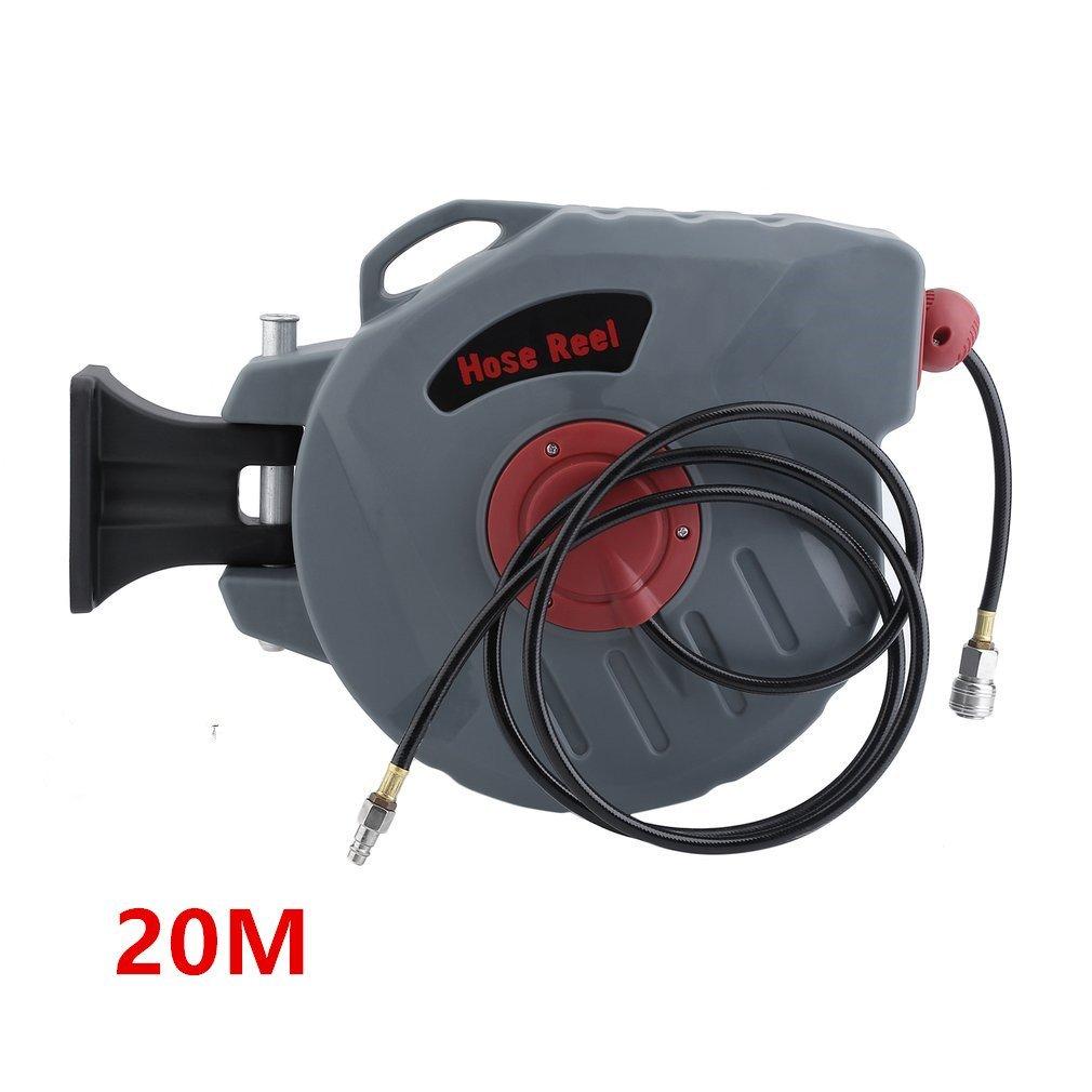 Blackpoolal Druckluftschlauchtrommel mit Automatik Schlauchaufroller Wandmontage Druckluftschlauch Aufroller Automatisch 1/4' Anschluss Einstellbar Schlauchtrommel (20M)