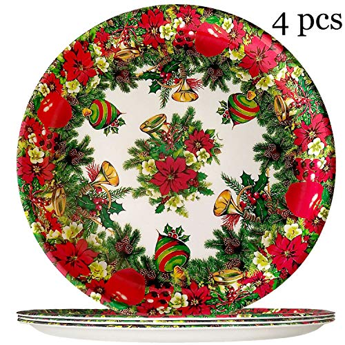 Christmas Dinner Plates Set - Christmas Tree Melamine Plate, 11 inch Shatter-Proof and Chip-Resistant Dinnerware Set of 4 - Christmas Party Supplies Tableware Favor for Xmas, New Year