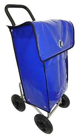 Carro para la distribución postal con bolsa de transporte impermeable azul