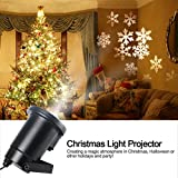 Best Prints Gifts For Bar Foyers - Gemtune Moving White Snowflakes Lawn LED Flood Projector Review