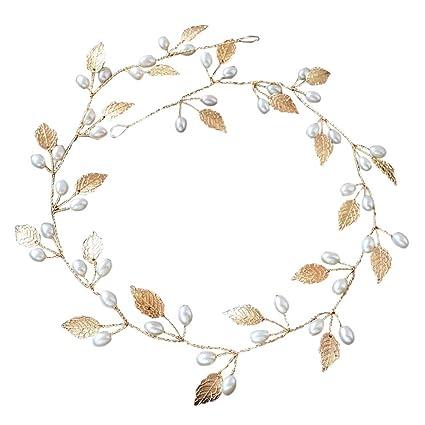Rokoo Accesorios de pelo boda nupcial diadema imitación perla hojas diadema  mujeres cabeza ornamento señoras pelos e44ad3568ded