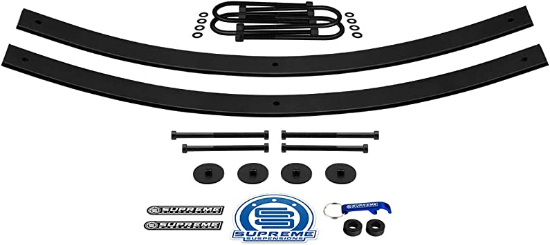 Supreme Suspensions + Round Bend U-Bolts 4WD Rear Leveling Kit for 1997-2012 Ford Ranger 1.5-2 Rear Suspension Lift High-Strength Steel Add-A-Leaf Kit 21 Short AAL