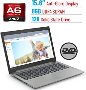 "Lenovo Premium Ideapad 330 15.6"" HD LED Backlit Anti-Glare Laptop PC, AMD A6-9225 2.6GHz, 8GB DDR4 Memory, 128GB SSD, DVD-RW, Dolby Audio, WiFi, Bluetooth, Webcam, HDMI, Windows 10"