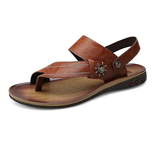 Slippers for Men Genuine Leather Beach Slippers Casual Breathable Non-Slip Soft Flat Closed Toe Sandals Shoes Adjustable Backless 2018 New