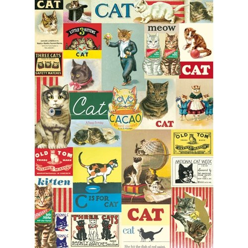 Cavallini & Co. Vintage Cats Decorative Decoupage Poster Wrapping Paper Sheet