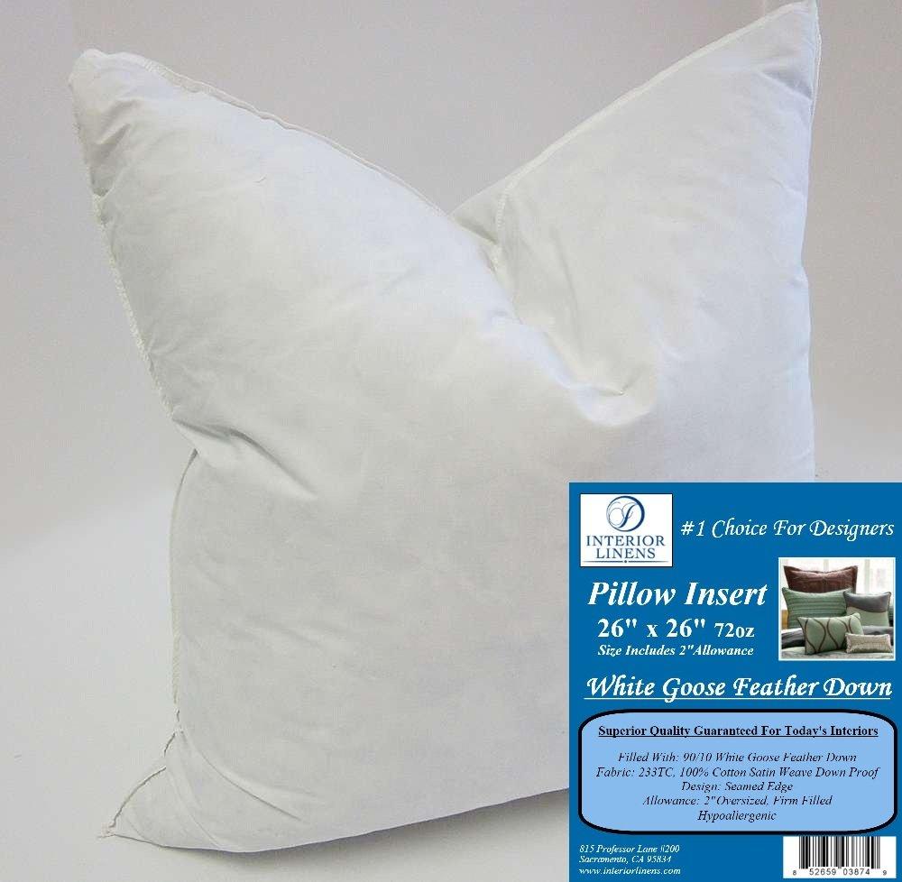 Amazon 26 x 26 72oz pillow insert 9010 white goose feather pillow insert 9010 white goose feather down 2 oversized firm filled actual size 28x28 home kitchen falaconquin