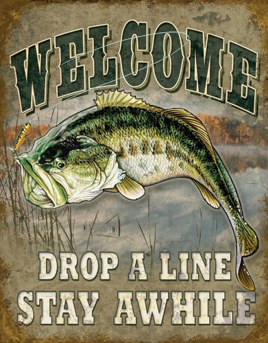 Carlena Welcome Bass Fishing Metal Art Tin Sign Vintage Foil Poster per Negozio Bar Home Wall Decor 20,3 x 30,5 cm