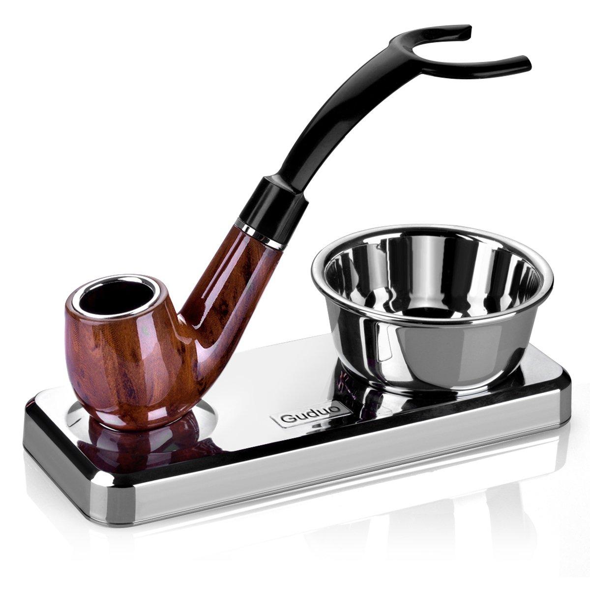 GUDUO Compatible Shaving Kit Deluxe Chrome Razor and Brush - Best Design Razor Stand with Razor Brush Blades and Bowl Stand (Black)
