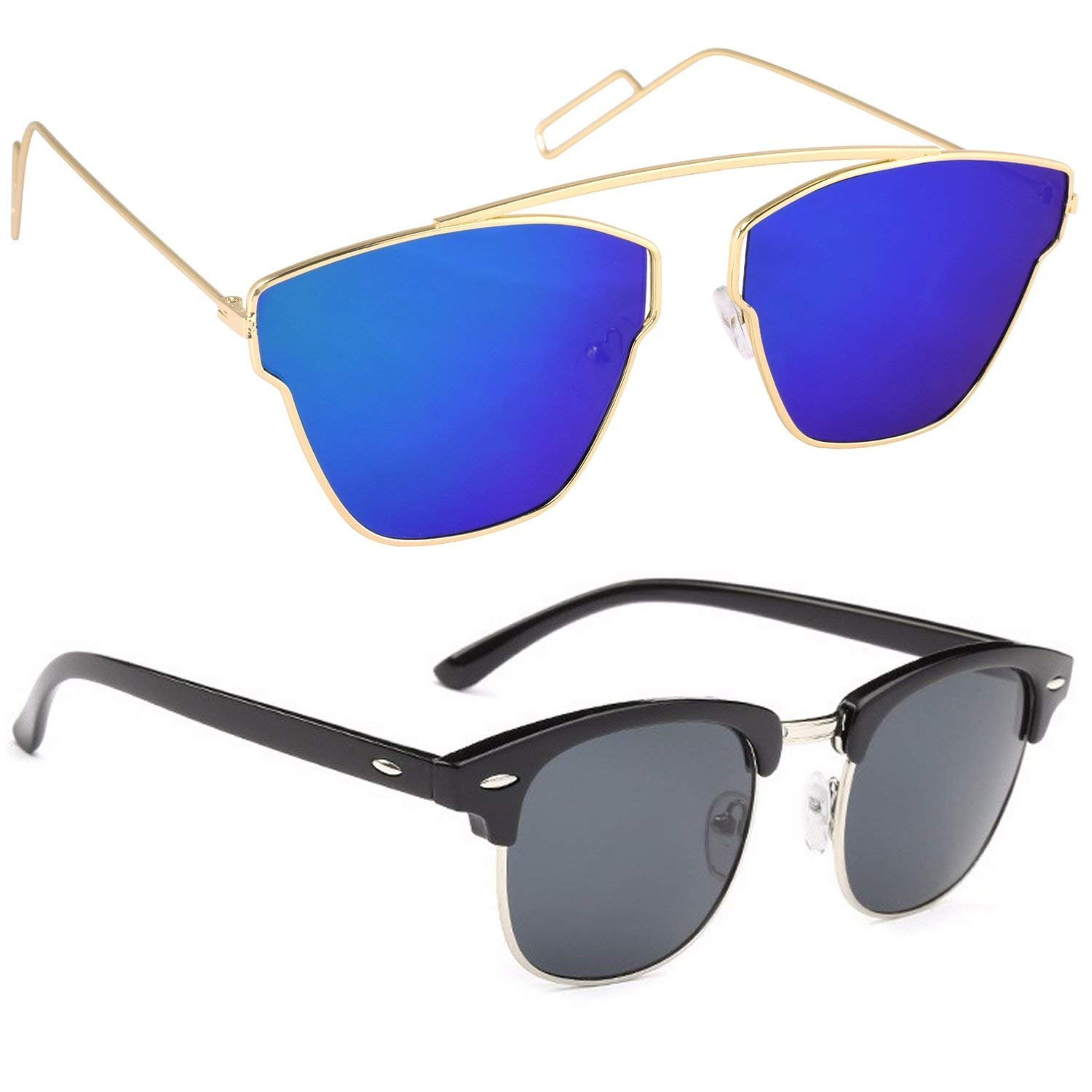 0fec1f0f71c Xforia Fancy Boys Blue   Black Mercury Wayfarer   Round Sunglasses For Men    Women 2 (PL-FLX-140