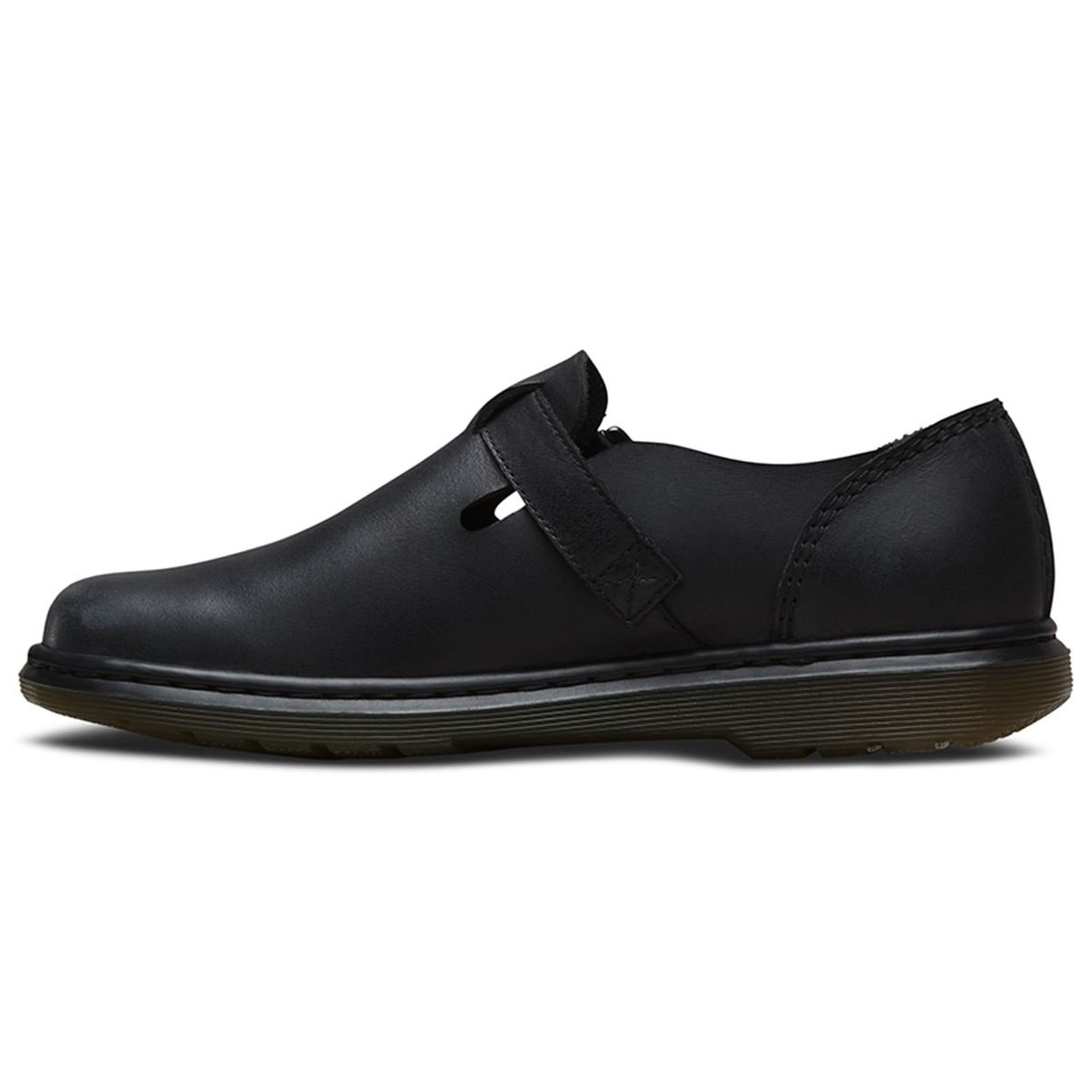 Dr. Martens Women's Patricia Buckle Casual Oxfords, Black Leather, 7 M UK, 9 M US