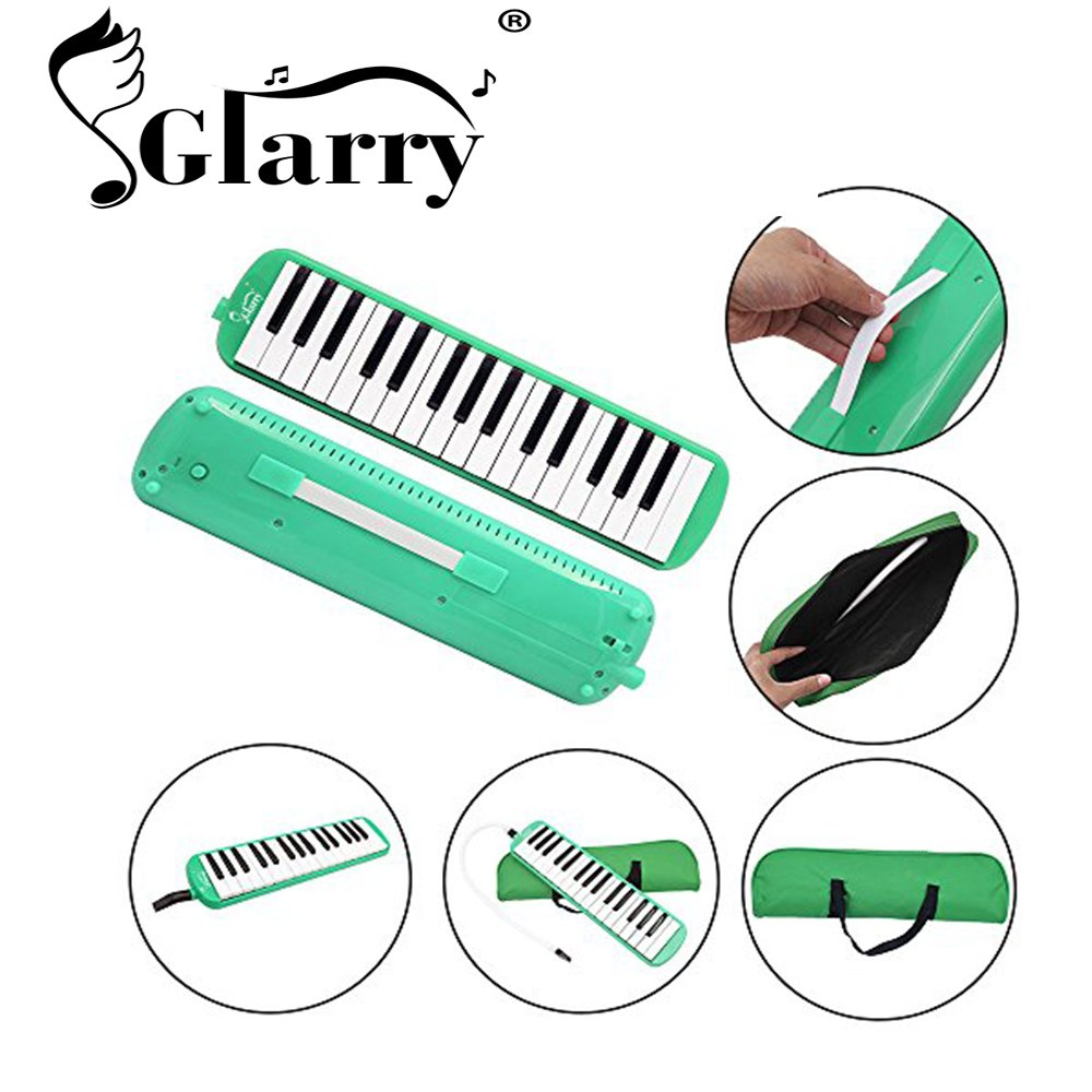 Glarry 32 Key Melodica Musical Instrument for Music Lovers Gift with Two mouthpieces and Carrying Bag (Green)