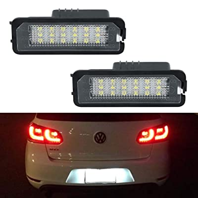 License Plate Light, GemPro LED License Plate Lamp Assembly For Volkswagen VW Golf 4 5 6 GTi CC Rabbit Eos Beetle Porsche Boxster Cayman Cayenne Carrera, Powered by 18SMD Xenon White LED Lights-2pcs: Automotive [5Bkhe0801027]