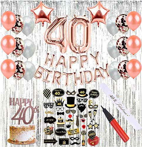 40th Birthday Party Decorations (64 Pieces) | Party Supplies with Photo Booth Props, Birthday Sash, Balloon Pump, Photo Backdrop, 40th Birthday Balloons & Cake Topper, Rose Gold Confetti Balloons -