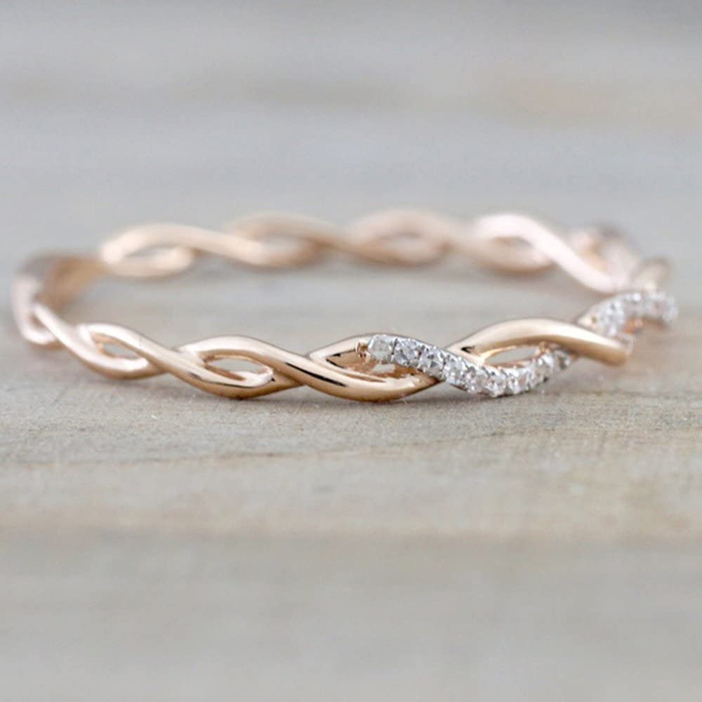 Simple Twisted Shape Diamond Ring for Women Trends Stacking Matching Band Rings Anniversary Valentines Day Gift