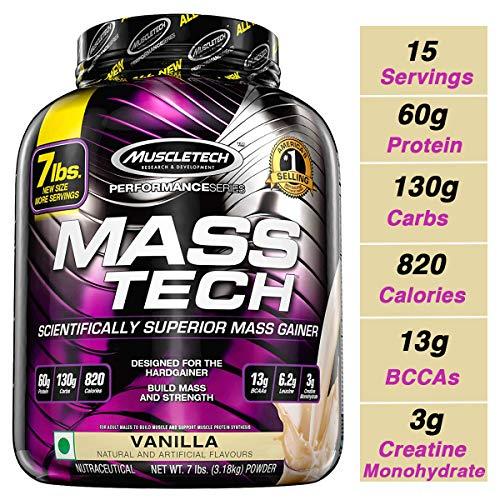 - MuscleTech Mass Tech, Scientifically Superior Weight Gain Formula, Vanilla, 7 lbs (3.18kg)