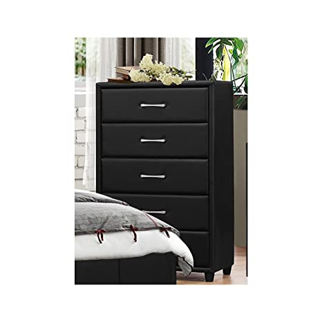 Amazon.com: Lancaster recámara muebles en vinilo negro ...