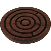 Vian Crafts'Man Handcrafted Wooden Labyrinth Board Game Round (Diameter - 4 Inches)