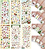 Christmas New Year Theme Nail Art Decal Water Slide Tattoo Transfer - Santa, Reindeer, Snowflakes & Many More - Pack of 6