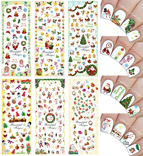 Christmas New Year Theme Nail Art Decal Water Slide Tattoo Transfer - Santa, Reindeer, Snowflakes & Many More - Pack of 6]()
