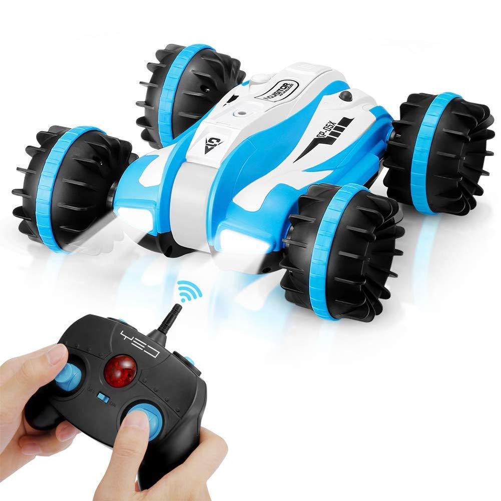 ALISA-Do Amphibisches wasserdichtes RC-Bremsungs-Fernsteuerungsauto, 2.4Ghz 4WD Weg vom Straßenfahrzeug-Stiefel 360 ° drehendes Bremsungs-Auto, das das Antreiben von Spielwaren für Kind, blau dreht