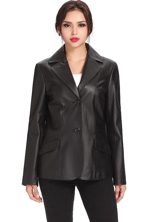 17615de9510 BGSD Women s Angie Two Button Leather Blazer - Black S at Amazon Women s  Clothing store