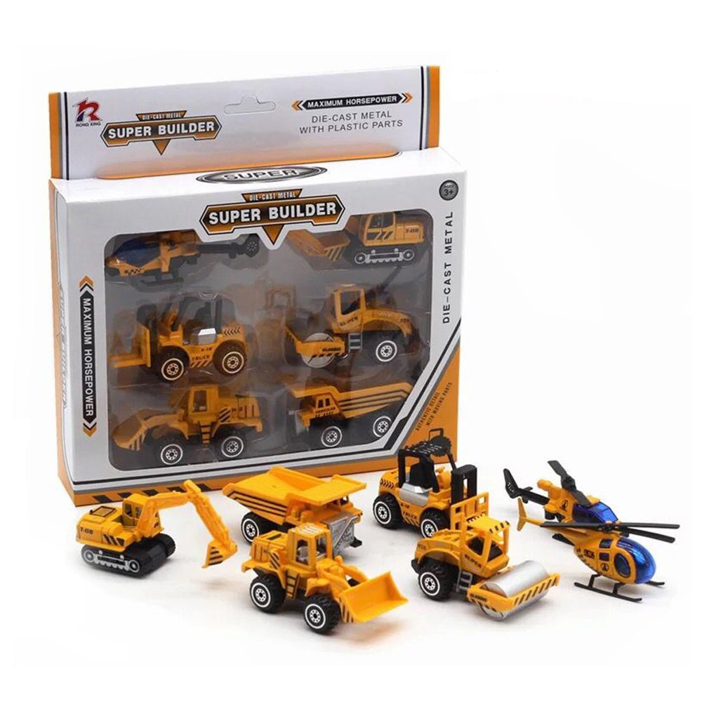 LW Toy Construction Engineering Vehicles(6 Pcs) Model Engineering car Toys Gift Packaging for Children Kids Boys and Girls