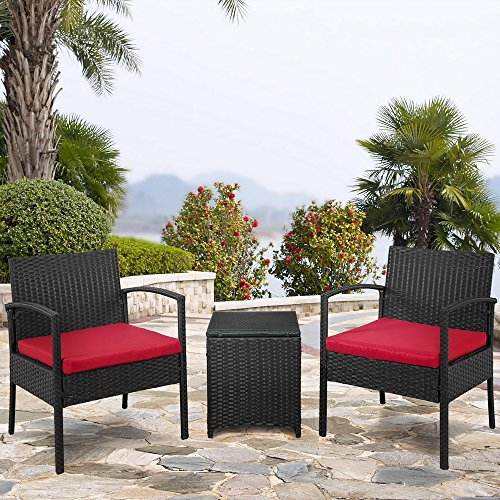 Palm Springs Outdoor 3-Piece Patio Rattan/Wicker Style Furniture Conversation Set – 2 Chairs with Cushions, Glass Top Side Table