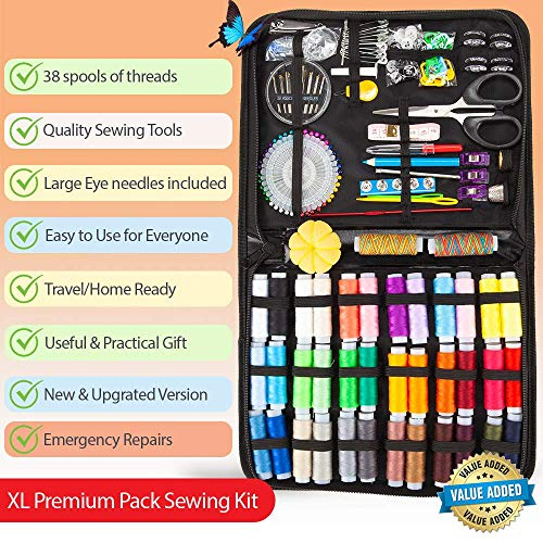 Premium Sewing KIT – Sewing Kits for Adults with 38 Color Threads – Complete Needle & Thread Kit for Sewing for Quick Fixes– Travel Sewing Kit for On-The-Go Repairs, Sewing Supplies Easy to Use