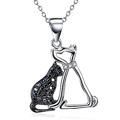 Animal collar 925 plata de ley Circonita perro gato colgante collar para mujer 18 inch: Amazon.es: Joyería