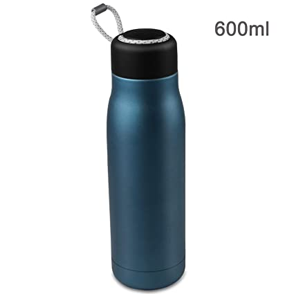 Bioasis 600 ML Botella de Agua de Pared Doble con Aislamiento al vacío, Botella de Agua de Prueba de Fugas, Botella Térmica de Acero Inoxidable sin ...