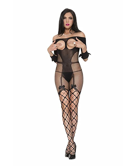 e165439c7fd71 Amazon.com  Music Legs Women s Open Bust Bodystocking with Garter and  Netted Thigh Hi Look