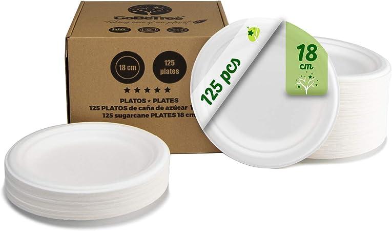 GoBeTree 125 Platos Desechables biodegradables de Papel de caña de azúcar de Ø18 cm en Caja de cartón. Platos extrafuertes de Color Blanco. Platos Redondos: Amazon.es: Hogar