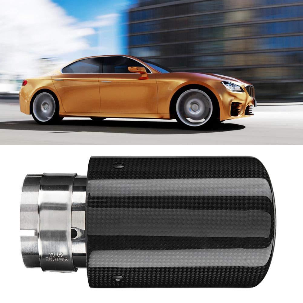 fibra de carbono brillante 63 mm-89 mm Tubo de escape de coche Qiilu Cola de Escape de acero inoxidable
