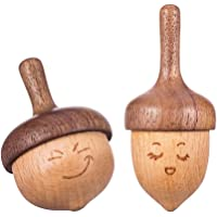 AhfuLife Wooden Spinning Top, Safe Non-Toxic Anti-Anxiety Toys Forever Spinning Top with Facial Expression, Physics…
