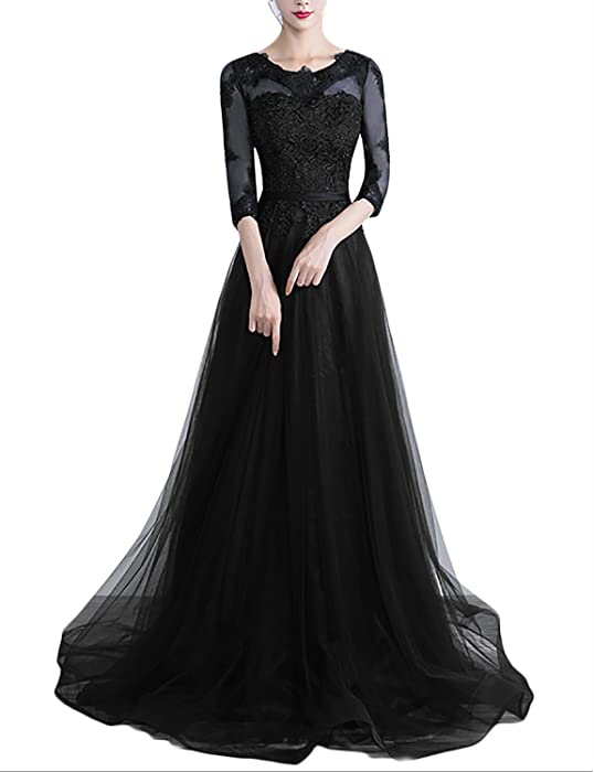 5a367693bd39 YSMei Women s Long Sleeves Lace Evening Prom Party Dress Formal Dress Black  2